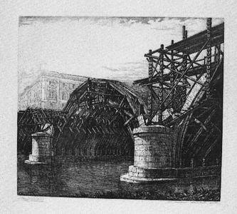 Guido Caraffa, Ponte Littorio in costruzione, 1928
