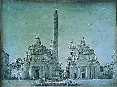 Pierre-Amboise Richebourg, Roma, Veduta di Piazza del Popolo, 1844 ca. (Firenze, Museo di Storia della Fotografia Fratelli Alinari)