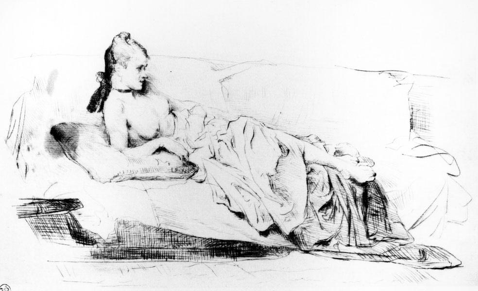 Giuseppe De Nittis (Barletta 1846-Saint Germain-en-Laye, Parigi 1884) Sogni del mattino, 1875 Puntasecca Roma, Istituto Nazionale per la Grafica