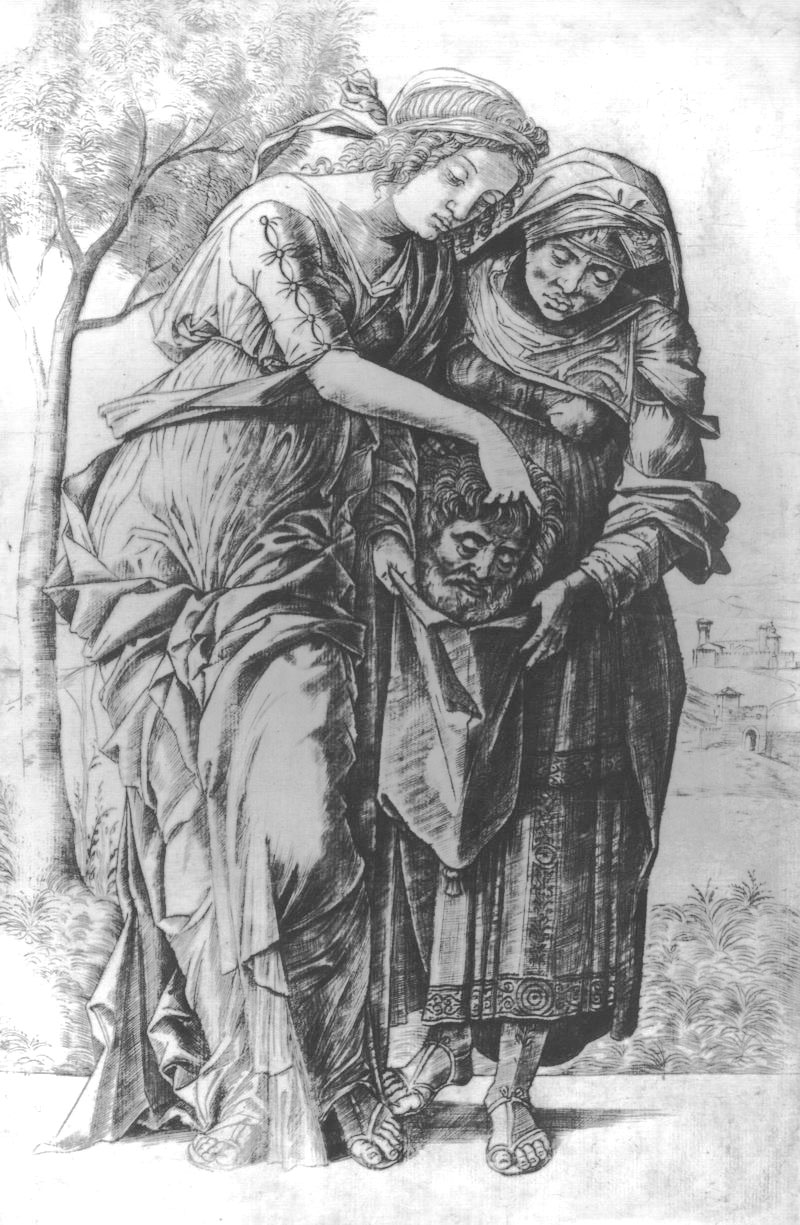 Girolamo Mocetto Giuditta e Oloferne,1500.1505 ca bulino e puntasecca Roma, Galleria Nazionale d'Arte Moderna