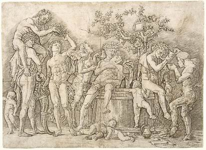 Andrea Mantegna (Isola di Carturo 1431-Mantova 1506) Baccanale con tino Bulino e puntasecca