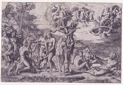 Marcantonio Raimondi (S.Andrea in Argine 1480 ca. - Bologna 1534 ca.) Giudizio di Paride, da Raffaello 1513-1514 ca. Bulino