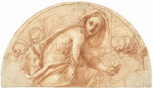 Jacopo Carucci da Pontormo (Pontormo 1494 - Firenze 1556)  Lunetta con Santa Cecilia Matita rossa e gessetto bianco su carta avorio
