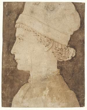 Maso Finiguerra (Firenze 1426-1464)  Giovane di profilo Penna a inchiostro bruno, acquarello bruno su carta avorio