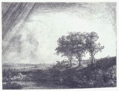 Rembrandt Harmensz van Rijn (Leida 1606 - Amsterdam 1669)  Paesaggio con tre alberi, 1643 Acquaforte, puntasecca e bulino