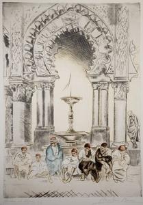 Anselmo Bucci Moschea ad Algeri, 1912 puntasecca a colori