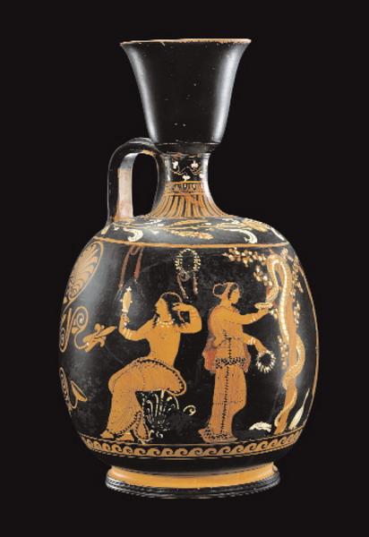 Lèkythos pestana a figure rosse con il giardino delle Esperidi Attribuita al ceramografo Assteas, ca. 350-340 a.C.  Già J. Paul Getty Museum, Malibu