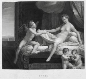 La Danae, 1874 – 1879  (stampa eseguita nei primi anni Trenta del Novecento) acquaforte puntasecca bulino  mm 610x760 (545x590) Roma ING