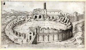 Etienne Du Pérac (Parigi? 1520 ca. – 1604?) Anfiteatro Castrense Acquaforte Roma, Istituto Nazionale per la Grafica,  Gabinetto delle Stampe, FN 39813 (2186)