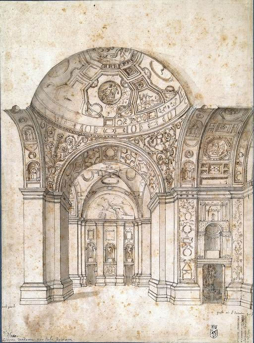 Artista romano secondo quarto XVI secolo: copia da Giulio Romano Veduta dell'interno della loggia di Villa Madama matita, penna, inchiostro bruno acquarellato FN 14235