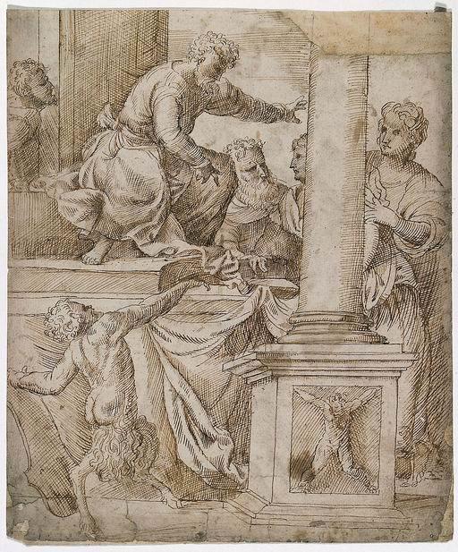 Domenico Campagnola (Venezia ante 1500 - Padova 1564)  Scena di Giudizio (recto) penna e inchiostro bruno