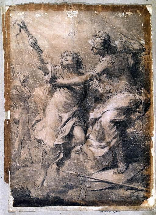 Gaetano Gandolfi (San Matteo della Decima, Bologna 1734 - Bologna 1802)  Prometeo ruba una scintilla al sole matita, carboncino, sfumino, gessetto bianco su carta ocra