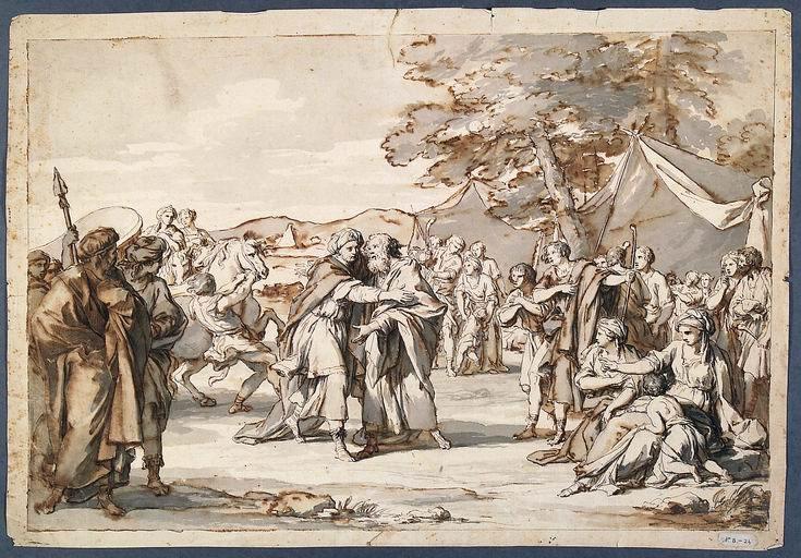 Giovan Battista Dell'Era (Treviglio, Bergamo 1765 - Firenze 1799) Incontro di Giuseppe e Giacobbe matita, penna, inchiostro bruno e grigio acquarellato
