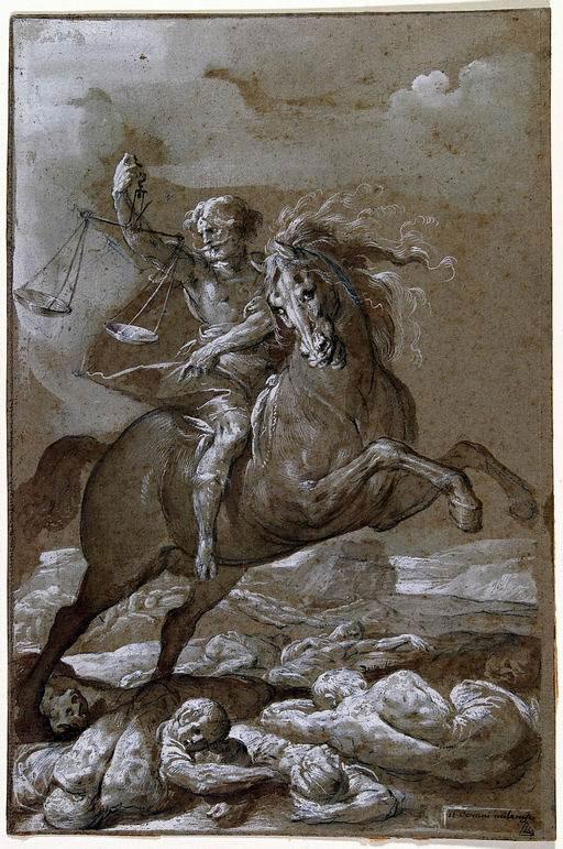Giovan Battista Crespi detto il Cerano (Romagnano Sesia, Novara 1573 - Milano 1632) Il terzo cavaliere dell'Apocalisse matita, penna, inchiostro bruno acquarellato, lumeggiature a tempera (?) su carta grigio-verde