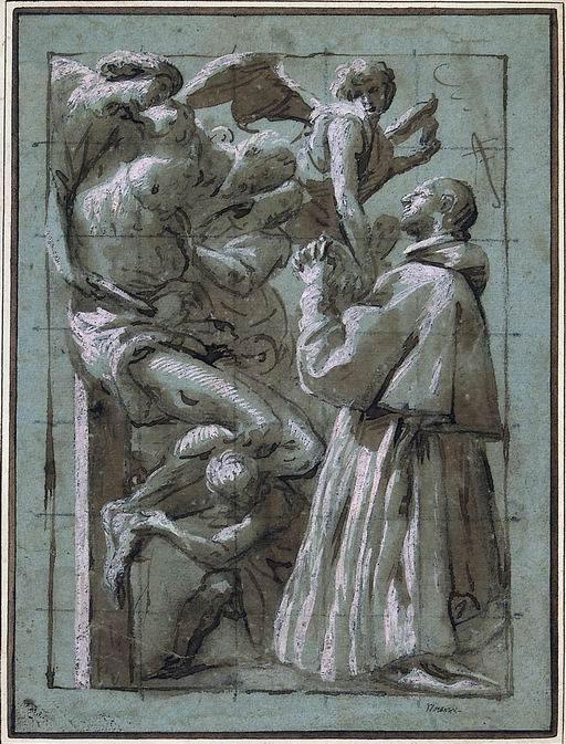 Pier Francesco Mazzucchelli detto il Morazzone (Morazzone, Varese 1573 - Piacenza 1626?) Cristo deposto dalla croce sorretto dagli angeli e adorato da San Carlo Borromeo  penna, inchiostro bruno acquarellato, biacca su carta azzurra, quadrettata a matita