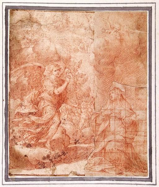 Camillo Procaccini (Bologna 1561 - Milano 1629) L'Annunciazione  disegno preparatorio per il dipinto nel Seminario di Venegono (Milano) sanguigna, parte destra su altro foglio incollato, come pure la figura della Vergine su un frammento, ritagliato e quadrettato