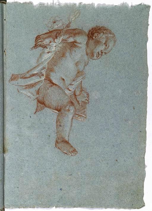 Francesco Lorenzi (Mazzurega, Verona 1723 - Verona 1787)  Bambino Gesù copia da un disegno di Giandomenico Tiepolo tratto da un perduto disegno di Giambattista Tiepolo per il dipinto San Giuseppe e il Bambino Gesù, New Orleans, Museum of Art sanguigna, gessetto bianco su carta azzurra