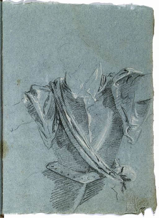 Francesco Lorenzi (Mazzurega, Verona 1723 -Verona 1787) Studio di armatura copia dalla sesta stazione della Via Crucis dipinta da Giandomenico Tiepolo, Venezia, Oratorio del Crocefisso matita, gessetto bianco su carta azzurra
