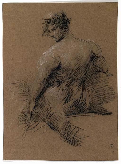 Giuseppe Bernardino Bison (Palmanova, Udine 1762 - Milano 1844) Cerere  carboncino e matita bianca su carta ocra