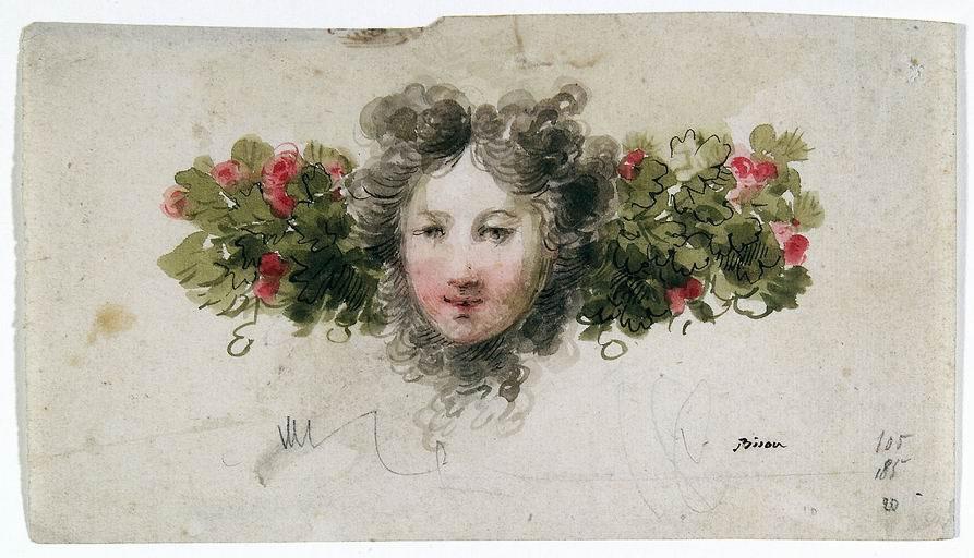 Giuseppe Bernardino Bison (Palmanova, Udine 1762 - Milano 1844) Studio di decorazione tracce di matita, penna, inchiostro bruno e nero, acquarelli policromi