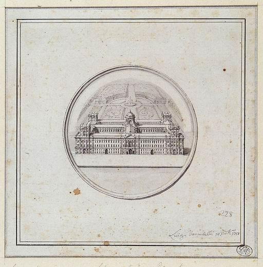 Luigi Vanvitelli (Napoli 1700 - Caserta 1773) La Reggia di Caserta disegno preparatorio per la medaglia celebrativa della costruzione della Reggia di Caserta (1751) matita, penna, inchiostro nero acquarellato grigio