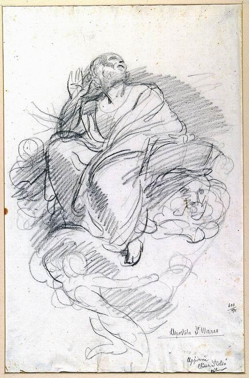 Andrea Appiani (Milano 1754 - 1817) Studio per l'Evangelista Marco  per uno dei pennacchi della cupola della Chiesa di Santa Maria presso San Celso, Milano matita