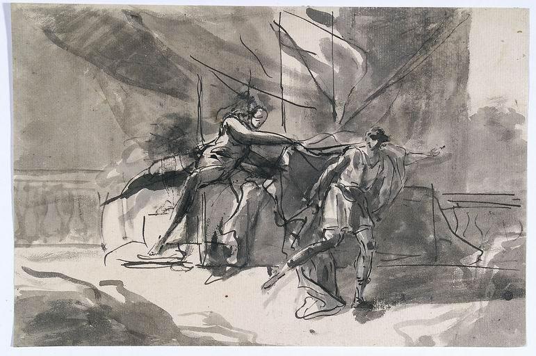 Domenico Mondo (Capodrise, Caserta 1723 - Napoli 1806) Giuseppe e la moglie di Putifarre penna, inchiostro grigio acquarellato