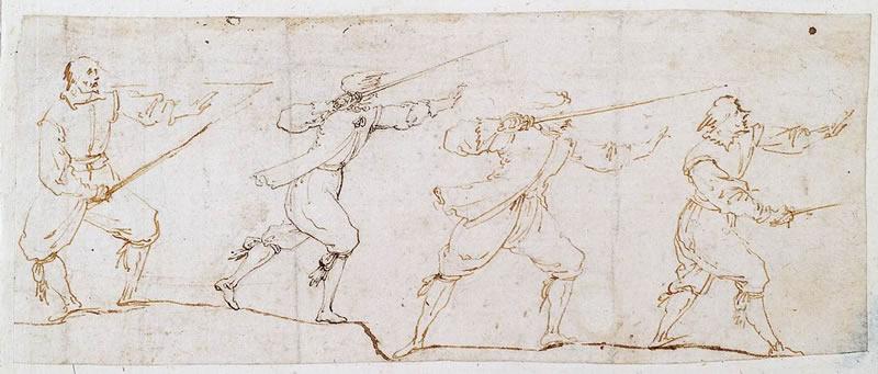 Stefano Della Bella e scuola toscana prima metà XVII secolo (Firenze 1610 - 1664) Studio di spadaccini penna, inchiostro bruno e marrone