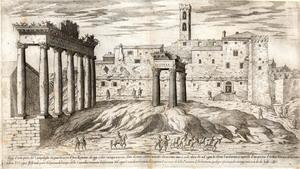 Etienne Du Pérac (Parigi? 1520 ca. – 1604?) Foro Romano con il Campidoglio Acquaforte Roma, Istituto Nazionale per la Grafica,  Gabinetto delle Stampe, FN 39811 (2184)