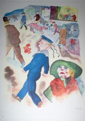 Georges Grosz  Passanten, dalla cartella Ecce Homo, 1921 acquaforte