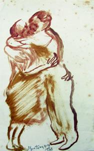L'abbraccio, 1928 inchiostro su carta