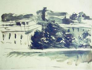 Paesaggio romano, 1934 inchiostro su carta