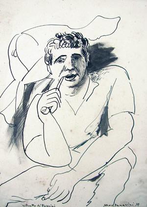 Ritratto di Fazzini, 1937 inchiostro su carta