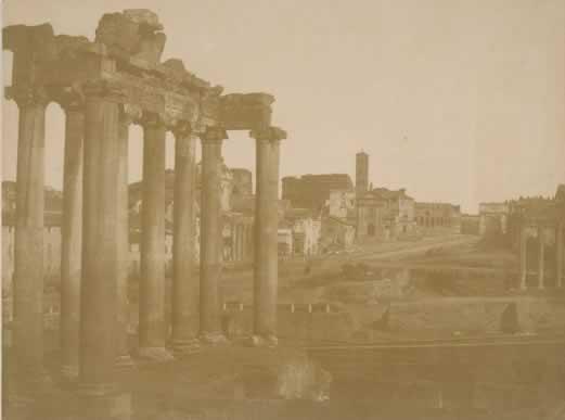 Flacheron Frédéric, Foro Romano. Veduta col Tempio di Saturno, 1850 Carta salata (da negativo su carta)