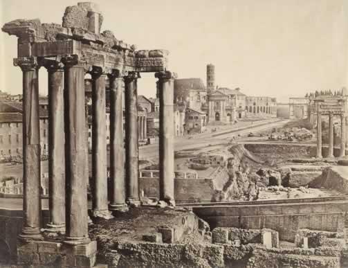Anderson James, Foro Romano. Veduta col Tempio di Saturno,1852-1858 ca., carta salata albuminata