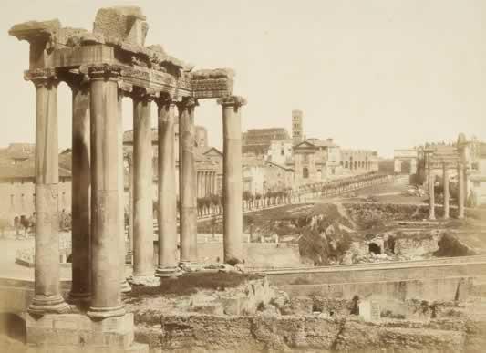 Cuccioni Tommaso, Foro Romano. Veduta col Tempio di Saturno,1856-1857, albumina