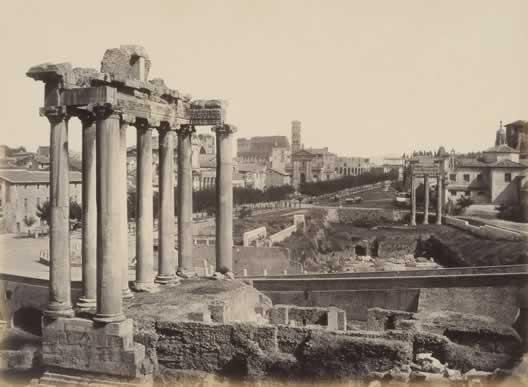 Autore non identificato, Foro Romano. Veduta col Tempio di Saturno,1865 ca., albumina