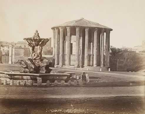 Autore non identificato [calotipista, Scuola fotografica romana?], Tempio di Vesta,1853-1855 ca., carta salata (da negativo su carta)