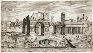 Etienne Du Pérac (Parigi? 1520 ca. – 1604?) Tempio di Giano e San Giorgio al Velabro Acquaforte Roma, Istituto Nazionale per la Grafica,  Gabinetto delle Stampe, FN 39821 (2194)