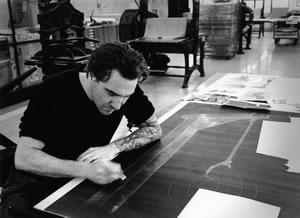Paolo Canevari al lavoro nella stamperia dell'Istituto Nazionale per la Grafica foto Marco Anelli