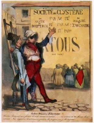 Honoré Daumier  Société du clystére, dalla serie Caricaturana di Robert Macaire, 1836 Litografia acquarellata