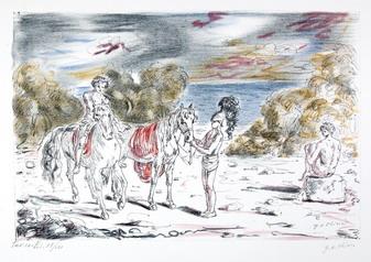 Giorgio de Chirico  I Nictomachi, 1948 dalla cartella I Cavalli Edizione Carlo Bastelli, Roma Litografia