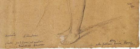 Particolare di un disegno di Andrea Appiani dalla collezione di Francesco Dubini (esposto in mostra, cat.75), dove sono visibili le sue note autografe, con la caratteristica frazione numerica corrispondente alle dimensioni del foglio