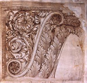 Pietro da Cortona (Cortona 1597 – Roma 1669), attr Studio di mensola dall'antico Penna, inchiostro bruno acquerellato su carta bianca, mm. 270×302