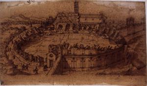 Etienne Du Pérac (Parigi? 1520 ca. – 1604?) Anfiteatro Castrense Penna, inchiostro metallo-gallico su carta vergata,  mm. 250×412