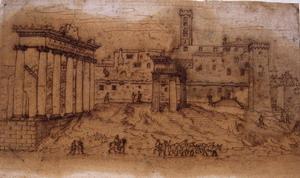Etienne Du Pérac (Parigi? 1520 ca. – 1604?) Foro Romano con il Campidoglio Penna, inchiostro metallo-gallico su carta vergata,  mm. 242×392