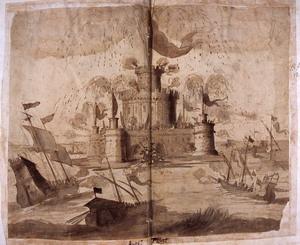Roma, prima metà del XVII secolo Scenografia con girandola su un castello e naumachia Penna, inchiostro bruno acquerellato su carta bianca, mm. 392×495