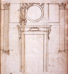 Federico Zuccari (Sant'Angelo in Vado 1540/1541 – Ancona 1609) Studi di facciata interna di cappella Traccia di matita, penna, inchiostro bruno su carta bianca,  mm. 374×350