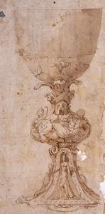 Francesco Salviati (Firenze 1513 – 1563) Studio di calice Traccia di matita nera, penna, acquerello bruno su carta bruno-chiara, riquadrato a penna sulla sinistra, mm. 327×182