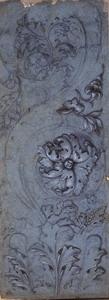 Giovanni Bonati (Ferrara 1635 – Roma 1681) Lesena antica Matita nera, gessetto bianco, acquerello grigio su carta azzurra, mm. 125×346
